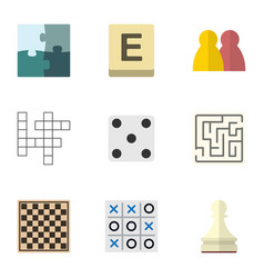 flat icon games set of pawn x-o chess table and vector image vector image