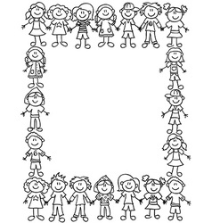 Kids friendship border-outline vector image vector image
