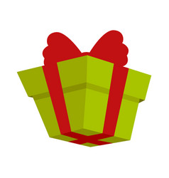 packing present icon with red bow in flat style vector image vector image