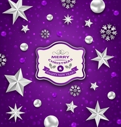 Purple Abstract Celebration Card with Silver Stars vector image vector image