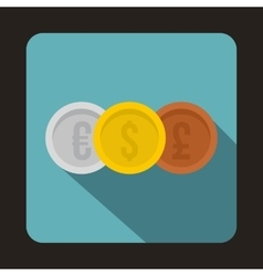 Coins money icon flat style vector image