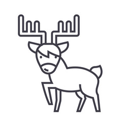 cute elk line icon sign on vector image