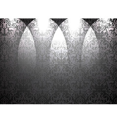 Empty Black Store Front with Seamless Floral vector image vector image