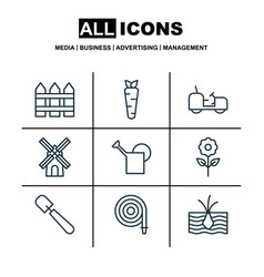 set of 9 gardening icons includes mill bailer vector image