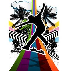 skateboarder summer background vector image