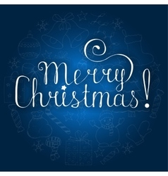 White christmas lettering on blue background with vector image vector image