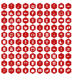 100 housework icons hexagon red vector
