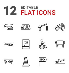 12 traffic icons vector image