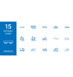 15 vehicle icons vector