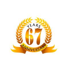 67 years ribbon anniversary vector