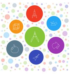7 geometric icons vector