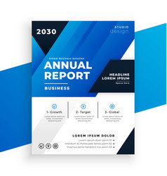 abstract blue annual report template in geometric vector image