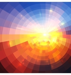 Abstract sunset effect technology concentric vector image