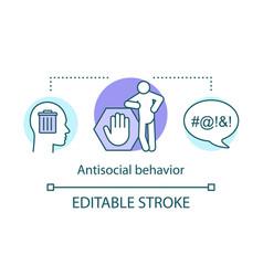 Antisocial behavior concept icon rude violent vector
