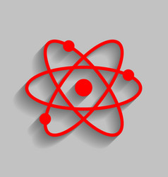 atom sign red icon with soft vector image