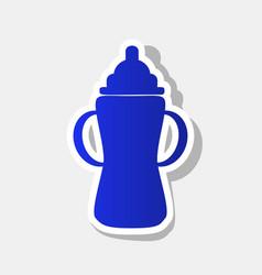 Baby bottle sign new year bluish icon vector
