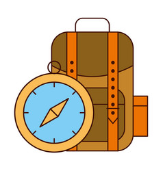 backpack and compass safari equipment supplies vector image