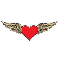 Banner with a red flying heart with golden wings vector