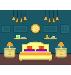 Bedroom cozy interior vector