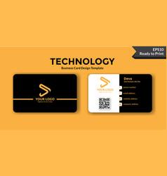 Black technology business card design template vector