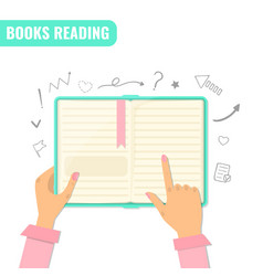 Books reading books research education concept vector
