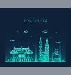 bremen skyline germany city linear style vector image