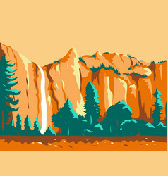 Bridal veil falls yosemite national park wpa retro vector