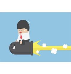 Businessman riding a black bullet vector