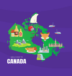 canada map with canadian national cultural symbols vector image