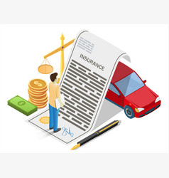 car insurance concept flat isometric vector image