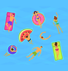 cartoon color characters people swimming floating vector image