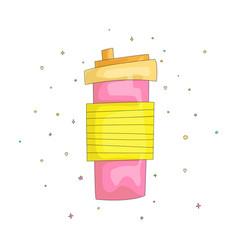 cartoon fun cute pink mug vector image