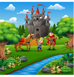 Cartoon of little knight and a prince on the castl vector