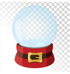 christmas glass magic ball with santa hat vector image