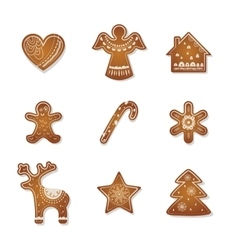 Christmas set of cute gingerbread cookies vector