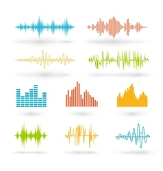 Color sound waves vector