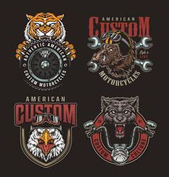 Colorful animals bikers mascots badges set vector
