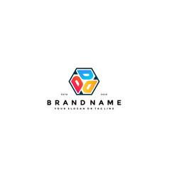 Colorful hexagon letter d logo design vector