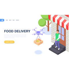 Concept contactless food delivery to your vector