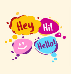 concept speech bubbles in comic style hey hello vector image