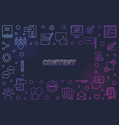Content colored thin line frame vector