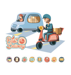Couriers delivery service characters icon vector