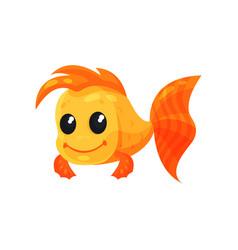 cute cheerful goldfish funny fish cartoon vector image