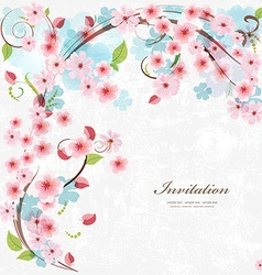 Cute invitation card with blossom cherry With love vector image