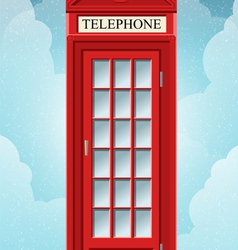 English red telephone cabin on grass vector
