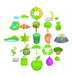 environmental pollution icons set cartoon style vector image