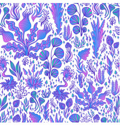 fantasy abstract colorful plants seamless pattern vector image
