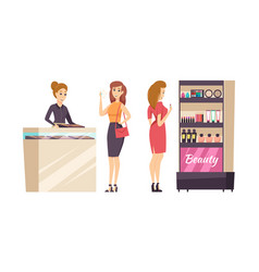 Female shopaholic choosing cosmetics set vector