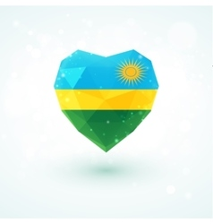 Flag of Rwanda in shape diamond glass heart vector