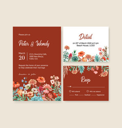 Floral ember glow wedding card design vector